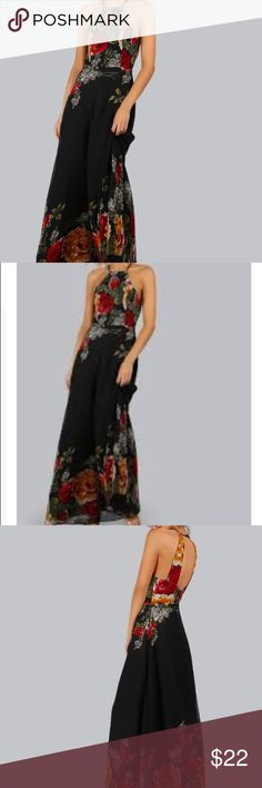 NWT Shein Floral Halter Open Back Maxi Dress M New (no tags were attached when purchased but never worn and brand new)  Black background with red yellow and white floral pattern. Halter top with open back. More photos of actual garment to come. Size M. Retails for $27. Shein is a trendy fashion retailer similar to H and M and forever21 Shein Dresses Maxi