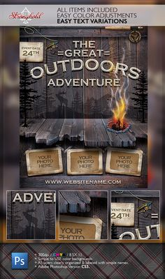 Buy Vintage Outdoor Camping Adventure Flyer by getstronghold on GraphicRiver. Stronghold Branding: ABOUT : Here is a fun distressed play on an outdoor event poster that could be used in a number . Flyer Design, Layout Design, Print Design, Organizing Labels, Flyer Printing, Print Templates, Flyer Template, Outdoor Camping, Have Fun