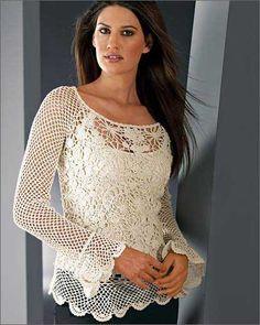 modelos de blusas de croche Mais