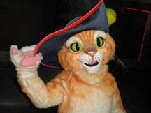 Puss in Boots is one of the most popular DreamWorks Characters. He started out in Shrek movies, but now has his own. He can be found at all four Gaylord Hotels at Spring, Summer, Fall and Christmas experiences.