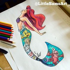 Ariel [as a mermaid feat. Flounder, King Triton as a mermaid, Ursula & Sebastian] (Image Within by LittleSamsArt93 @Facebook) #TheLittleMermaid
