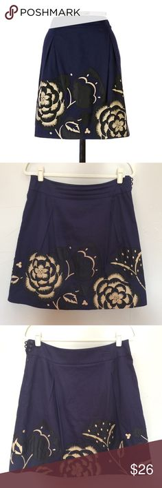 "Anthropologie Floreat Embroidered Sufi Skirt Anthropologie Floreat Embroidered Sufi Skirt  RN 66170 Size: 6 ""A gust of wind blows straw-hued embroidery and appliqués across indigo cotton twill."" Side zipper w 3 button closure Good Preloved Condition (general use wear and spot with barely noticeable thread damage-see pics)  Reach out with any questions or offers, happy poshing!🥂🥂🥂🥂 Floreat Skirts A-Line or Full"