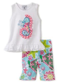 Mud Pie Baby-girls Newborn Lily Pad Seahorse Tunic Top and Capri Legging