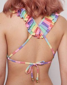 Lazy Oaf Frilly Rainbow Bikini Top
