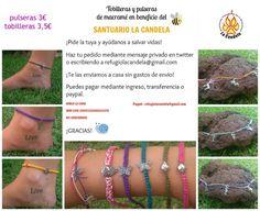 Tobilleras y pulseras solidarias para ayudar a los refugiados del Hogar Refugio La Candela. Compra y regala solidaridad: http://protectoralacandela.org/tobilleras-y-pulseras-solidarias/
