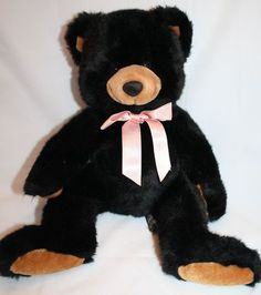 "Russ Black Inkspot Bear 14"" Plush Stuffed Animal Peach Bow Brown Pad Ears 1795"