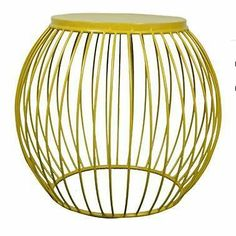 NEW Industrial Retro Yellow Metal Drum Round Side Table Stool Bedside Coffee