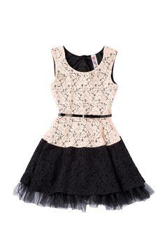 Beautees Lace Colorblock Hem Dress//