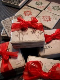 """Stamped Tile Coasters (Need: 3 ¾"""" x 3 ¾"""" unglazed tile  Rubber stamps and ink pads  Felt or cork (sticky sided)  Spray fixative/varnish)"""