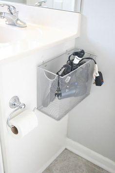 File Box Appliance Storage | Easy Bathroom Organization Hack by DIY Ready at http://diyready.com/organization-hacks-bathroom-storage-ideas/