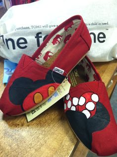 Someone PLEASE paint me these...I will pay for paint and shoes. Hand-painted Custom Toms. $85.00, via Etsy.