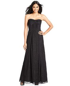 Jessica Simpson Dress, Strapless Lace-Panel Sweetheart Gown - Dresses - Women - Macy's