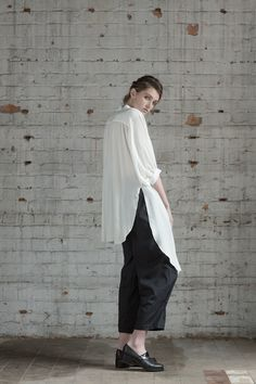 White silk shirt  French artisan's shirt & Painter Pants by Yuka&Tristan