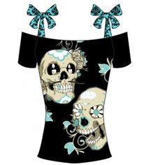 Too Fast Sugar Staches Gothic Rockabilly Annabel Bow Top T Shirt Goth