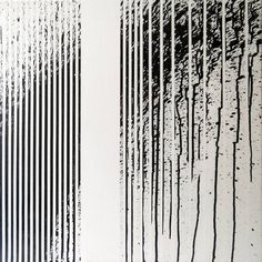 """""""Op. 45. geometric gestures,"""" black and white minimalist linear painting by artist Gyula Sági 