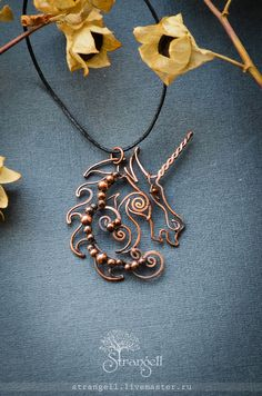 "Pendants handmade.  Fair Masters - handmade.  Buy Pendant ""Unicorn"" copper.  Handmade.  Dark gray, blue"