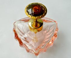 Vintage Perfume Bottle Atomizer Pink Crystal IRice Glorious Celluloid Pump Top Made in West Germany ca 1950s Pump Spray Excellent