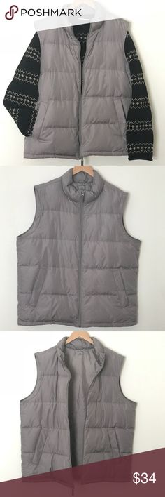 Lands End Gray Down Feathers Puffer Vest XL From my son's closet here is a seldom worn , light steel gray color down feathers puffer vest with loft for warmth to passalong to you.   High collar, full front zipper (with easy glide)  Lined hand pockets with snap closure  Wear with your warm wool sweaters (sweater shown in my cover shot is offered under separate listing; it's a J. Crew Large) then transition with the season with your flannel & oxford button front shirts.    A classic look…