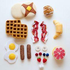 Felt Pancake and Waffle Gourmet Breakfast Set Felt by thefeltchef
