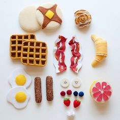 Gourmet Pancake and Waffle Breakfast Set - Wool Felt - Pretend Play Food. $85.00, via Etsy.