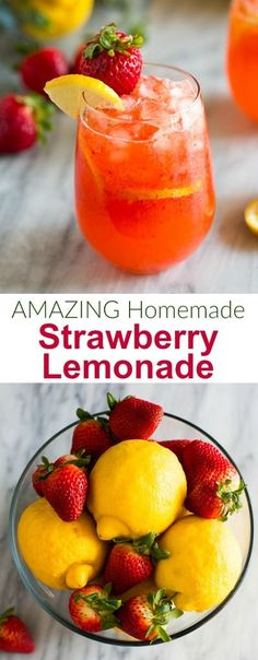 This easy Strawberry Lemonade recipe is my kids favorite fresh summer drink. It's homemade and requires just three basic ingredients! via easy Strawberry Lemonade recipe is my kids favorite fresh summer drink. It's homemade and requires just three basic i Easy Strawberry Lemonade Recipe, Homemade Lemonade Recipes, Homeade Lemonade, Strawberry Summer, Lemonade Recipe For Party, Fresh Lemonade Recipe, Strawberry Drink Recipes, Homemade Recipe, Drinks Alcohol Recipes