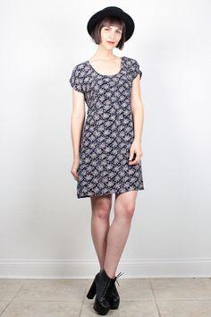 Vintage 1990s Dress Soft Grunge Dress Mini Dress 90s Dress Dark Navy Blue Liberty Floral Print Dress Ditsy Babydoll Dress M Medium L Large by ShopTwitchVintage #vintage #etsy #90s #1990s #dress #minidress #grunge #softgrunge #floral