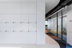 IND architects has created an agile workspace for the IT department of oil and gas holding company Sibur, located in Moscow, Russia. Interior of Sibur IT Office Mailboxes, Office Lockers, Community Places, Mail Room, Office Storage Furniture, Workplace Design, Co Working, Storage Design, Ceiling Design