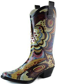 5b0098e1cf1e Womens Nature Breeze Cb Rain 02 Turquoise Monet Prints Rain Boots Turquoise  Multi 8 BM US8