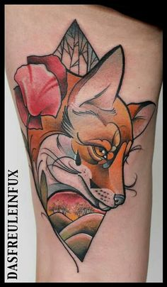 Fox tattoo by Freulein Fux Zorro Tattoo, Fox Tattoo, Calf Tattoo, Great Tattoos, Beautiful Tattoos, Body Art Tattoos, Tatoos, Fuchs Tattoo, Female Tattoo Artists