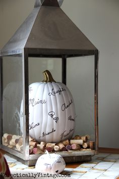 Thankful pumpkin in a lantern - love the corks too! eclecticallyvintage.com #EclecticallyFall