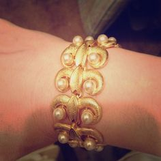 """Beautiful scroll gold color bracelet classic piece About. 7.5"""" long Gold/ pearl - really beautiful costume jewelry! From a boutique. Nice clasp! Jewelry Bracelets"""