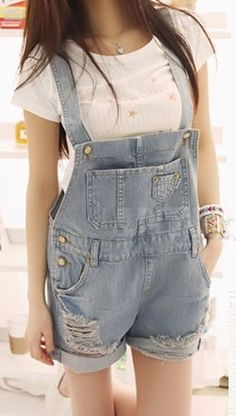 Ripped Pockets Denim Rompers ♥