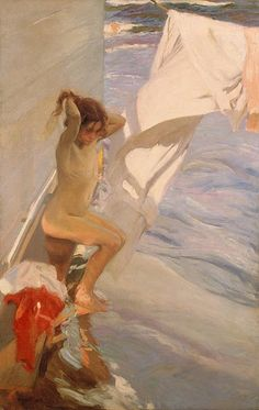Learn more about Before Bathing Joaquin Sorolla y Bastida - oil artwork, painted by one of the most celebrated masters in the history of art. Spanish Painters, Spanish Artists, Figurative Kunst, European Paintings, Impressionist Paintings, Art Database, Monet, Renoir, Figure Painting