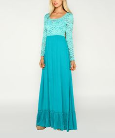 One of the more gorgeous dresses I have seen! #zulily! Teal Lace Scoop Neck Maxi Dress #zulilyfinds