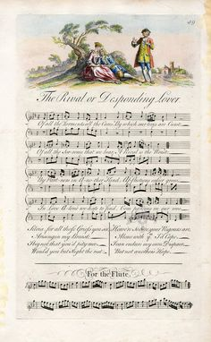antique french wrttten sheet music' | The Musical Entertainer by George Bickham 1737