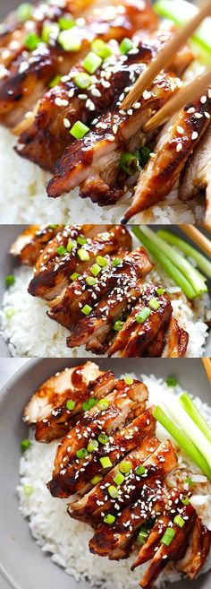 Soy-Glazed Chicken – the best soy-glazed chicken recipe ever. Made with soy sa., Soy-Glazed Chicken – the best soy-glazed chicken recipe ever. Made with soy sauce, honey and rice vinegar, this sticky and savory chicken is crazy goo. Frango Chicken, Asian Recipes, Healthy Recipes, Curry Recipes, Salmon Recipes, Rice Recipes, Chinese Recipes, Recipes With Sticky Rice, Chinese Chicken Thigh Recipes