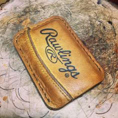 Minimalist Leather 2 Pocket Wallet made from Rawlings Baseball Mitt by PencraftersUSA on Etsy