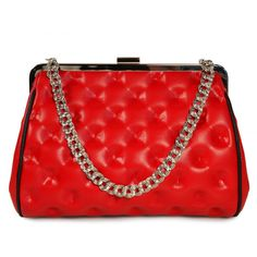 Andrea Valentini Sophia Clutch In Red Bump ($195) ❤ liked on Polyvore