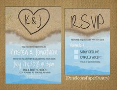 Destination Beach Wedding Invitation Heart by PenelopesPaperPantry