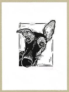 Whippet Dog Linocut Original hand pulled by littleRamstudio