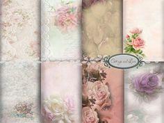 Digital Backgrounds Digital Floral Backgrounds Vintage Backgrounds Invitations Scrapbooking Cottage Chic Pack, 8.50 x 11  No 1121 B