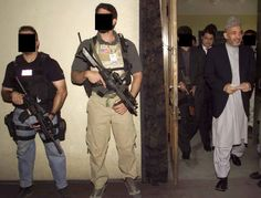 Bodyguards from SEAL Team Six provide close protection for Afghan President Hamid Karzai. Note the CQBR carried by the DEVGRU operator second from left. Both his and his colleague's are fitted with SOPMOD accessories. Special Ops, Special Forces, Protection Rapprochée, Seal Team 6, Ranger School, Airsoft, Naval Special Warfare, Executive Protection, Close Air Support
