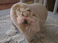 Beautiful Valentine heart box by Cerri with old lace and vintage millinery!