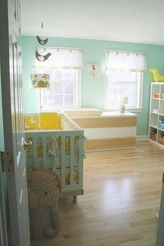turquoise  yellow Nursery- could almost work for a baby boy or girl