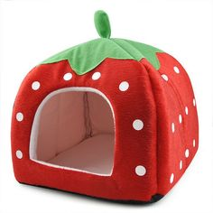 Amazon.com : Leegoal Cute Soft Sponge White Dots Strawberry Pet Cat Dog House Bed With Warm Plush Pad(Red, M) : Pet Supplies