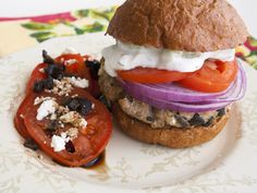Greek Style Turkey Burgers and Tomato-Feta Salad with Olives. More