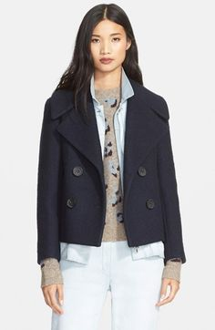 3.1 Phillip Lim Denim Layer Double Breasted Wool Blend Jacket available at #Nordstrom