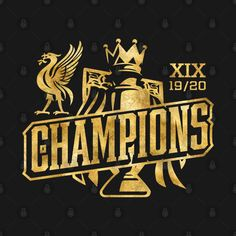 Liverpool Football Club, Liverpool Fc, Premier League Champions, Awesome, Illustration, Check, Movie Posters, Gold, T Shirt