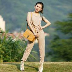 $8.27 Fashion and Elegant Solid Color Sleeveless Jumpsuit For Women