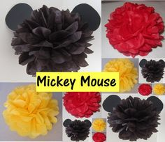 Hey, I found this really awesome Etsy listing at… Mickey Mouse Theme Party, Mickey Mouse First Birthday, Leo Birthday, Mickey Mouse Clubhouse, Birthday Ideas, Mickey Mouse Baby Shower, Baby Mickey, Disney Mickey, Paper Pom Poms